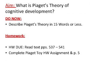 Aim What is Piagets Theory of cognitive development