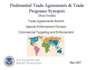 Preferential Trade Agreements Trade Programs Synopsis NonTextile Trade