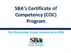 SBAs Certificate of Competency COC Program First Wednesday