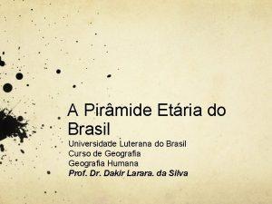 A Pirmide Etria do Brasil Universidade Luterana do