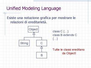 Unified Modeling Language Esiste una notazione grafica per