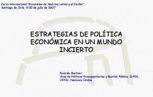 Curso internacional Economas de Amrica Latina y el