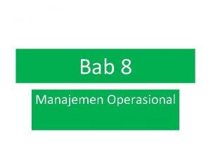 Bab 8 Manajemen Operasional Strategi Penentuan Harga Pendapatan