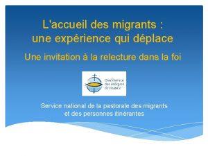 Laccueil des migrants une exprience qui dplace Une
