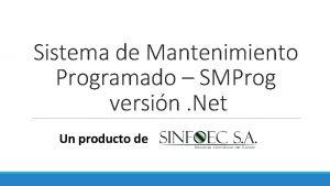 Sistema de Mantenimiento Programado SMProg versin Net Un