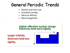 General Periodic Trends Atomic and ionic size Ionization