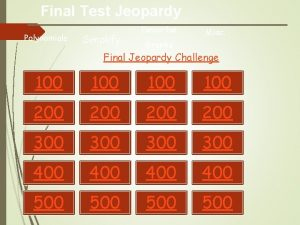 Final Test Jeopardy Polynomials Simplify Describe Misc Graphs