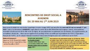 RENCONTRES DE DROIT SOCIAL A AVIGNON DU 29