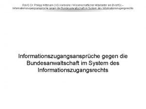 Ra VG Dr Philipp Wittmann VG Karlsruhe Wissenschaftlicher
