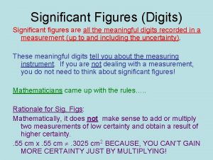Significant Figures Digits Significant figures are all the