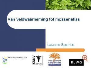 Van veldwaarneming tot mossenatlas Laurens Sparrius BLWG Databank
