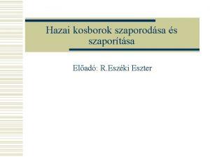 Hazai kosborok szaporodsa s szaportsa Elad R Eszki