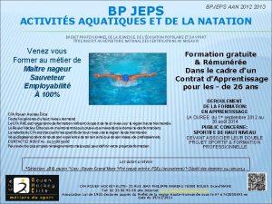 BP JEPS BPJEPS AAN 2012 2013 ACTIVITS AQUATIQUES