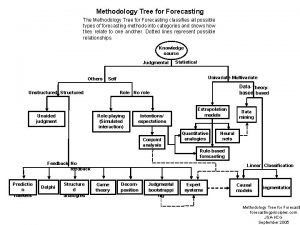 Methodology Tree for Forecasting The Methodology Tree for