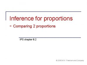 Inference for proportions Comparing 2 proportions IPS chapter