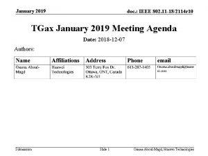 January 2019 doc IEEE 802 11 182114 r