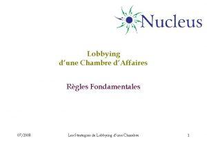 Lobbying dune Chambre dAffaires Rgles Fondamentales 072008 Les