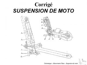 Corrig SUSPENSION DE MOTO Cinmatique Mouvements Plans Suspension