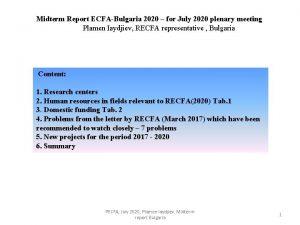 Midterm Report ECFABulgaria 2020 for July 2020 plenary