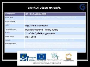 DIGITLN UEBN MATERIL slo projektu CZ 1 071