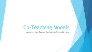 CoTeaching Models Mentoring from Teacher Candidate to Successful