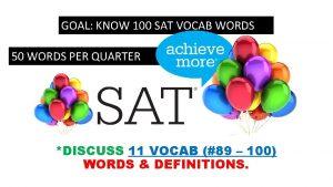 GOAL KNOW 100 SAT VOCAB WORDS 50 WORDS