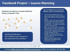 Facebook Project Lauren Manning Facebook can help you