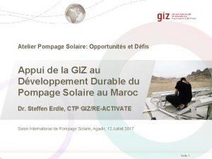 Atelier Pompage Solaire Opportunits et Dfis Appui de