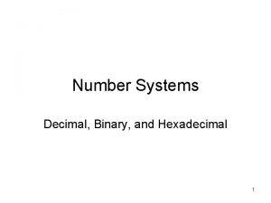 Number Systems Decimal Binary and Hexadecimal 1 BaseN
