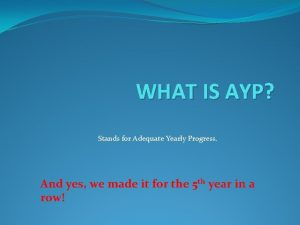 WHAT IS AYP Stands for Adequate Yearly Progress