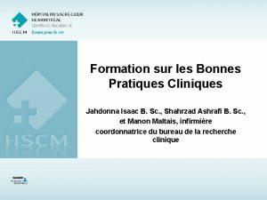 Formation sur les Bonnes Pratiques Cliniques Jahdonna Isaac