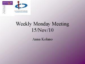 Weekly Monday Meeting 15Nov10 Anna Kolano Overview Compact
