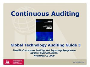 Continuous Auditing Global Technology Auditing Guide 3 Twelfth