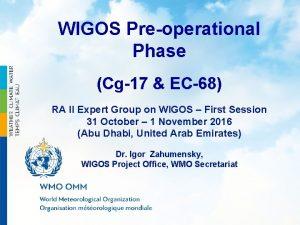 WIGOS Preoperational Phase Cg17 EC68 RA II Expert