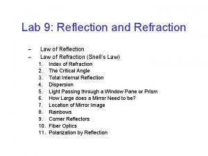Lab 9 Reflection and Refraction Law of Reflection