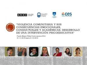 VIOLENCIA COMUNITARIA Y SUS CONSECUENCIAS EMOCIONALES CONDUCTUALES Y