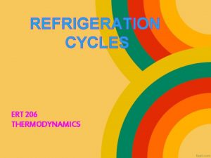 REFRIGERATION CYCLES ERT 206 THERMODYNAMICS OBJECTIVE Introduce the