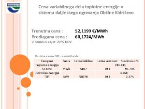 Cena variabilnega dela toplotne energije v sistemu daljinskega