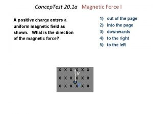 Concep Test 20 1 a Magnetic Force I