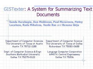 GISTexter A System for Summarizing Text Documents Sanda