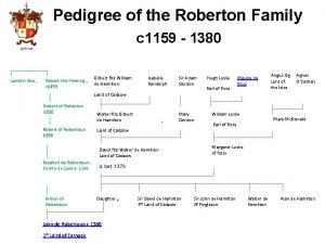 Pedigree of the Roberton Family c 1159 1380