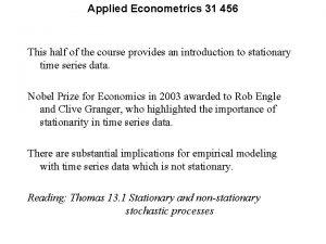 Applied Econometrics 31 456 This half of the