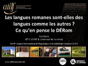 Les langues romanes sontelles des langues comme les