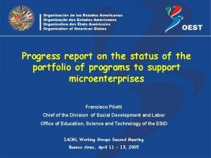 Progress report on the status of the portfolio