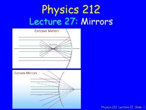 Physics 212 Lecture 27 Mirrors Physics 212 Lecture