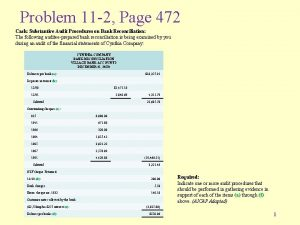 Problem 11 2 Page 472 Cash Substantive Audit