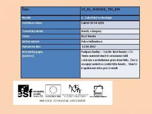 slo VY32 INOVACE TEC493 Ronk 2 Cukrsk technologie