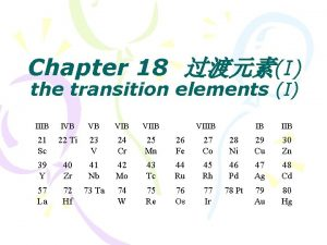 Chapter 18 I the transition elements I IIIB