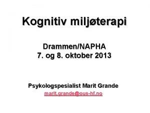 Kognitiv miljterapi DrammenNAPHA 7 og 8 oktober 2013
