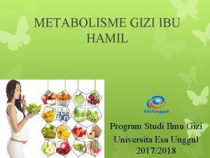METABOLISME GIZI IBU HAMIL Program Studi Ilmu Gizi